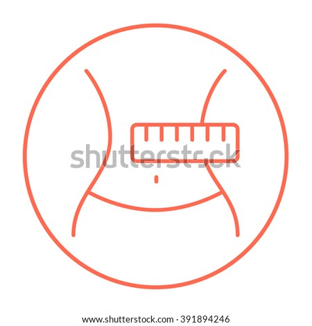 Waist with measuring tape line icon.