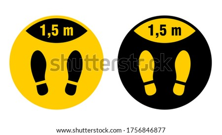 Wait Here or Stand Here and Keep a Safe Distance of 1,5 Metres Round Floor Marking Sticker with Shoeprints for Queue Line or Other Purposes Requiring Social Distancing. Vector Image. Zdjęcia stock ©