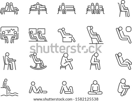 Wait icon set. Included icons as seat, sit, chair, armchair, bench and more. Foto d'archivio ©