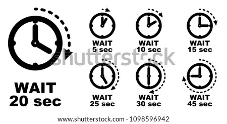 Wait, pause, period of passing time icon. Simple clock symbol with arrow measuring seconds passed. Can be used for delay in hours as well.