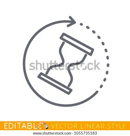 Wait time icon. Hourglass clock or sand watch. Modern simple flat hour glass sign. Trendy stop symbol for web site. Editable line sketch icon. Stock vector illustration.