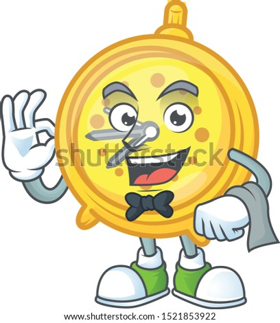 Waiter alarm clock cartoon with machine classic.