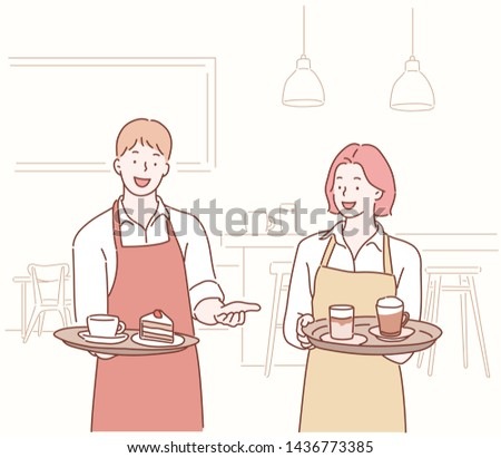 Waiter and waitress serving coffee and cake on tray. Hand drawn style vector design illustrations.