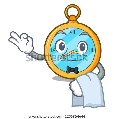 Waiter antique watch isolated on a character