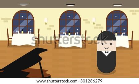 waiter at restaurant flat