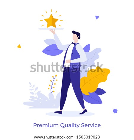 Waiter carrying golden shining star on tray. Concept of professional service of premium quality, luxury restaurant, vip bonus. Modern flat colorful vector illustration for advertisement, promotion.