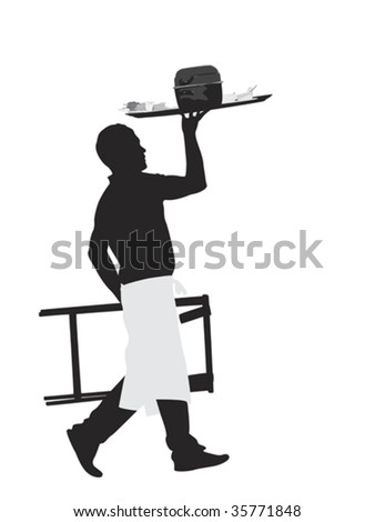 waiter carrying platter with mussel dish - stock vector
