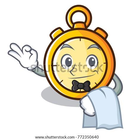 Waiter chronometer character cartoon style