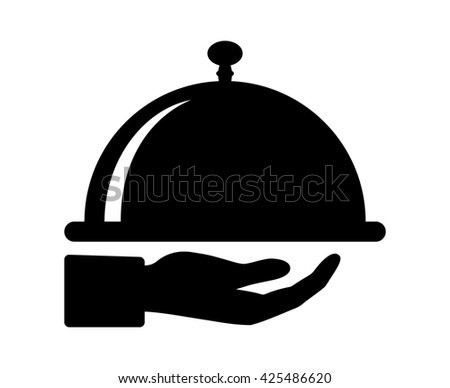Waiter hand holding cloche serving plate flat icon for food apps and websites