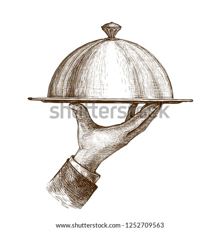 Waiter hand holding cloche serving plate. Vintage sketch vector illustration ストックフォト ©