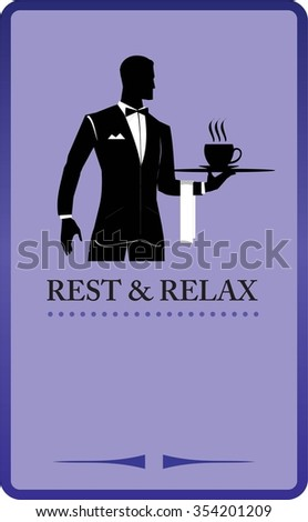 Waiter holding a tray. Restaurant. Coffee shop design elements. Design for restaurant, cafe, bar, coffeehouse. Illustration for your dining room, working room,  Restaurant. Coffee shop, cafe, etc.