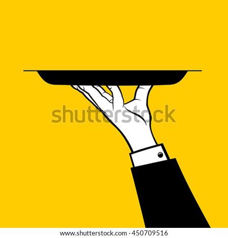 waiter holding platter