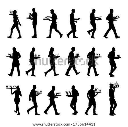 Waiter holding tray with order drinks for guests vector silhouette. Servant in restaurant taking orders. Worker in pub serve food and drinks for client. Barman welcomes guest. Cocktails and beverage.