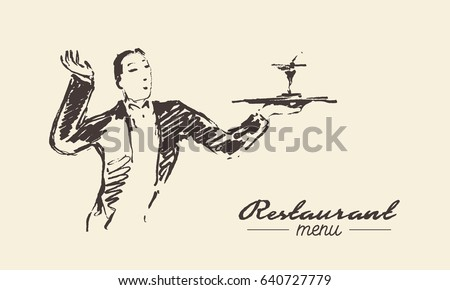 Waiter in holding tray with a cocktail, hand drawn vector illustration, sketch