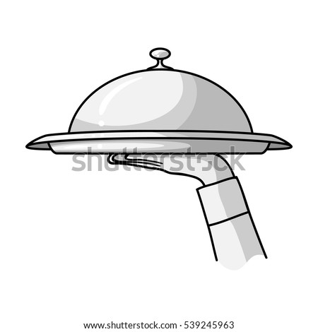 Waiter's hand holding a tray with cloche icon in monochrome style isolated on white background. Restaurant symbol stock vector illustration.