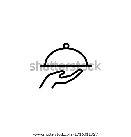 Waiter with food tray vector icon in linear, outline icon isolated on white background ストックフォト ©