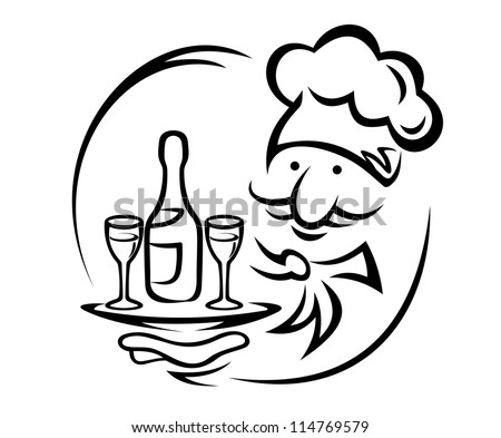 Waiter with tray and champagne for food service design, such a logo. Jpeg version also available in gallery