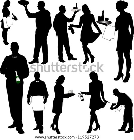 waiters and waitresses collection - vector