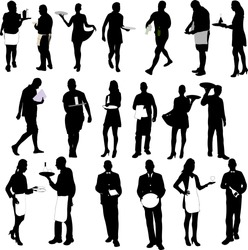waiters and waitresses silhouette big collection - vector