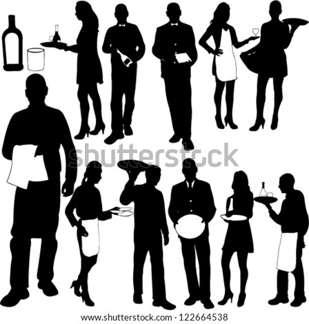 waiters and waitresses silhouette collection - vector