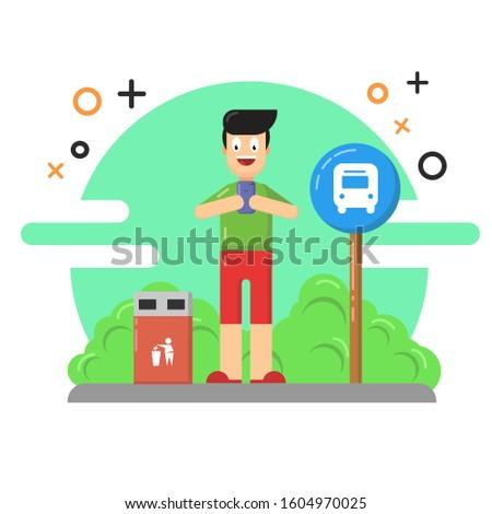 waiting bus vector illustration. park vector illustration. bus vector illustration