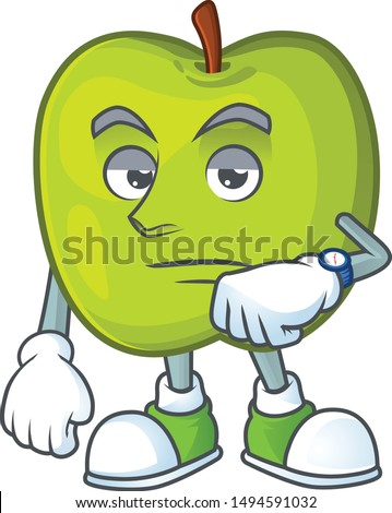 Waiting granny smith apple character for health mascot