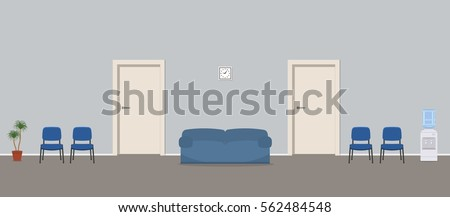 Waiting hall in a blue color. Corridor. There are chairs, a water cooler, a sofa near the doors in the picture. Vector flat illustration.