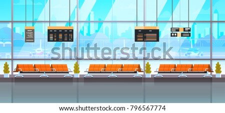Waiting Hall Or Departure Lounge Modern Airport Interior Terminal Flat Vector Illustration