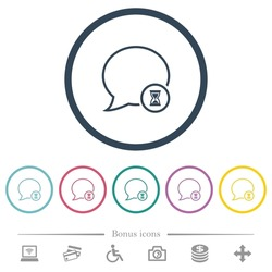 Waiting message outline flat color icons in round outlines. 6 bonus icons included.