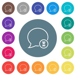 Waiting message outline flat white icons on round color backgrounds. 17 background color variations are included.