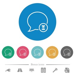 Waiting message outline flat white icons on round color backgrounds. 6 bonus icons included.
