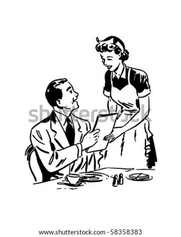 Waitress Handing Out Menu - Retro Clip Art