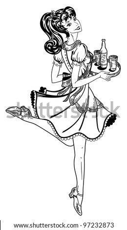 waitress in retro style brings