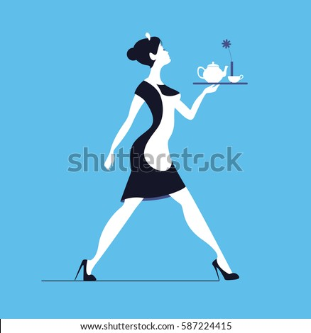 Waitress on blue background. Slender woman carrying tray with te Stockfoto ©