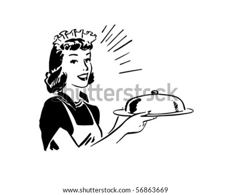 Waitress With Covered Server - Retro Clip Art