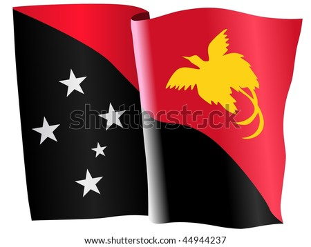 waiving flag of Papua New Guinea