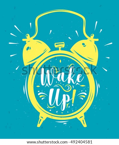 wake up lettering with clock