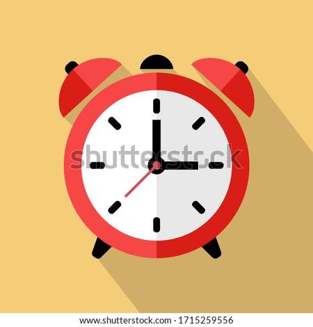 Wake up retro alarm clock. Flat vector Illustration with long shadow. Photo stock ©