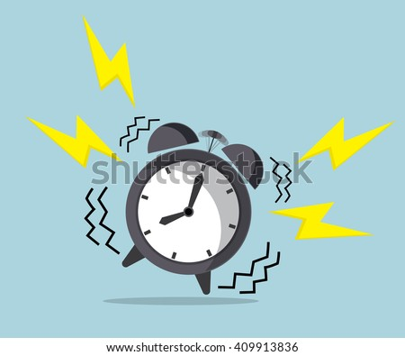 wake up time, ringing alarm clock vector illustration