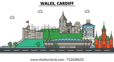 wales  cardiff city skyline