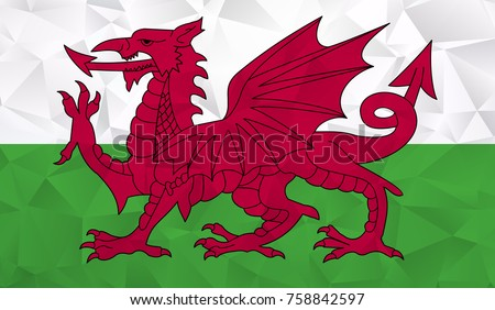 wales flag   geometric rumpled