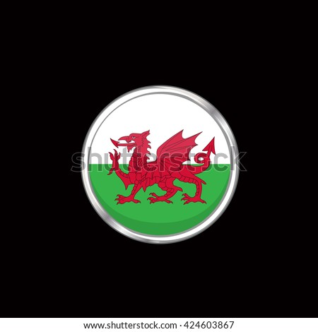wales flag isolated on black