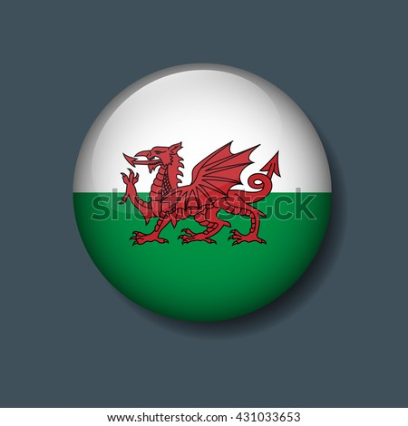 wales flag on button  logo euro