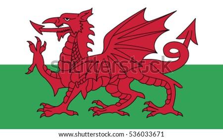 wales flag  vector rgb color