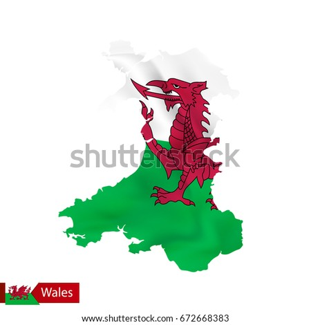 wales map with waving flag of