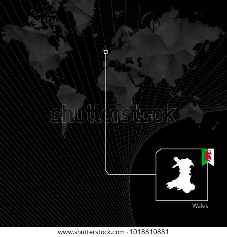 wales on black world map map
