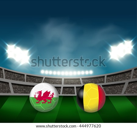wales vs belgium soccer ball in
