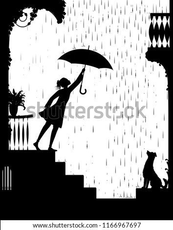 Stock Photo walk in rain, Girl opens the umbrella and go for a walk and gog waiting for her, my friend dog, black and white, shadow, vector