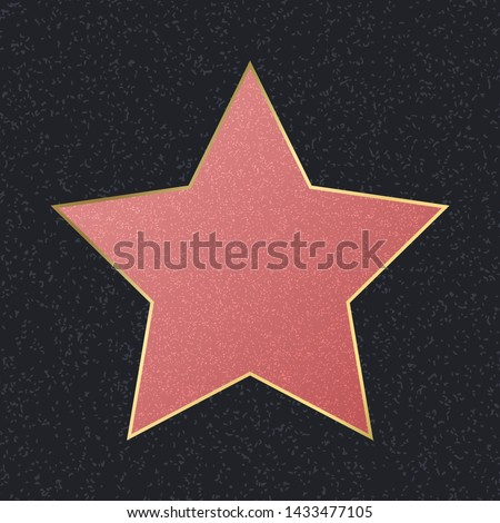 Walk of Fame Empty Pink Star Symbol of Achievement, Talent and Honor. Vector illustration of Famous Sidewalk