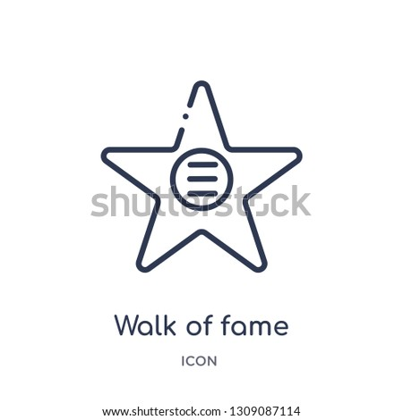 walk of fame icon from united states outline collection. Thin line walk of fame icon isolated on white background.